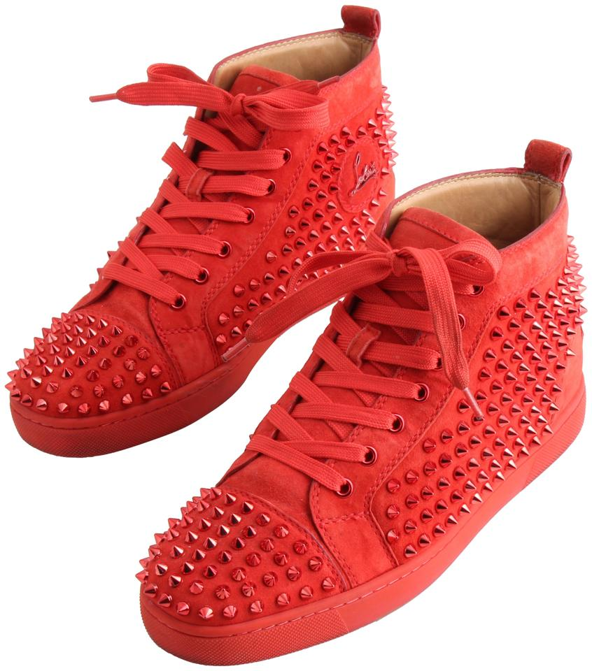 148902e079c8 Christian Louboutin Red Spiked Flat Suede Sneakers Sneakers Size US ...