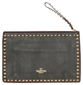 Valentino Rockstud Leather Wristlet Black Clutch