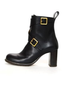 Chloé Leather Heeled Buckle Black Boots
