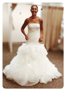 Vera Wang Ivory Tulle and Organza Fit Style Vw351166 Feminine Wedding Dress Size 8 (M)