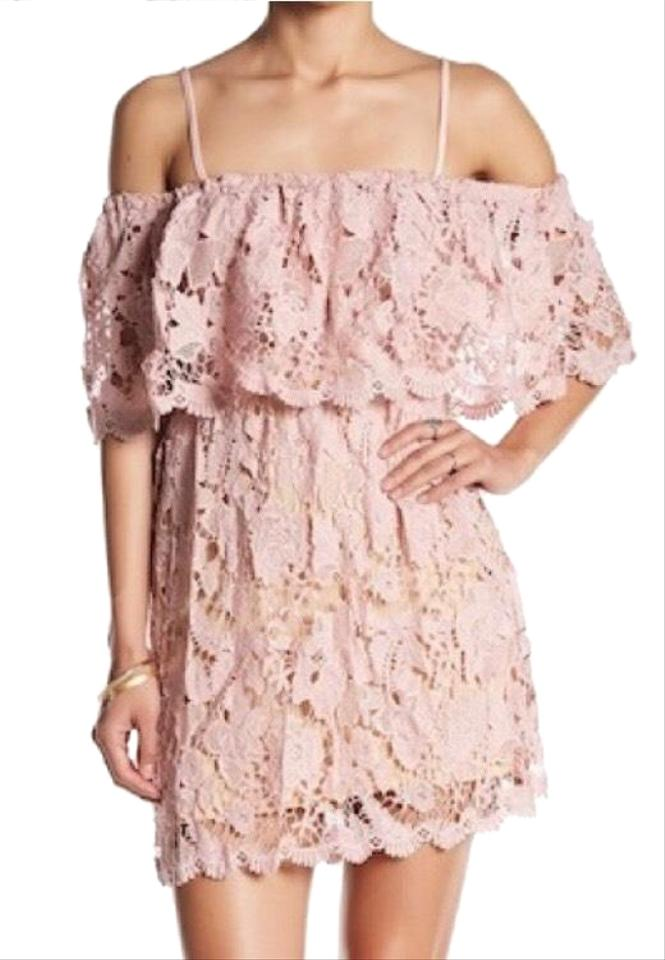 d5ee06f9c8297 Romeo   Juliet Couture Pink Lace Off Shoulder Short Casual Dress ...