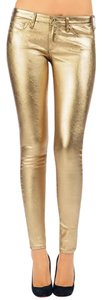 AG Adriano Goldschmied Vegan Metallic Lame Pants Skinny Jeans-Coated