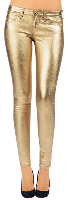 Item - Gold Coated Vegan Lame Pants Metallic Faux Leather Skinny Jeans Size 27 (4, S)