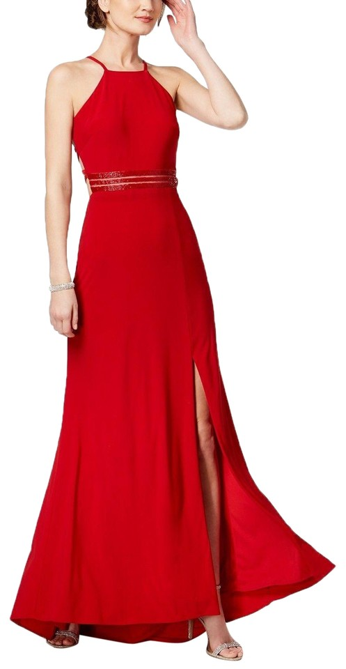 95d2b701901f Night Way Collections Red Strappy Beaded A-line Gown Long Formal ...