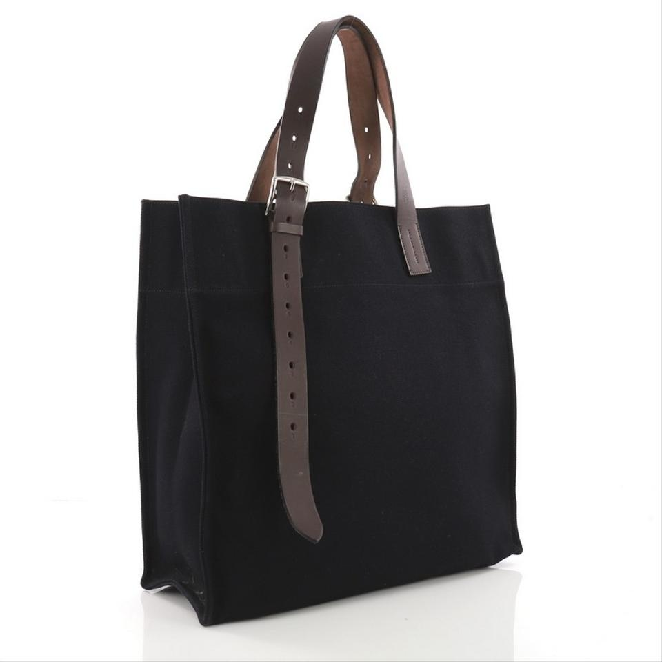 1831f0fb6 Hermès Etriviere Shopping and Leather Navy Toile Tote - Tradesy