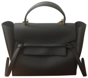 Céline Grained Leather Belt Satchel in Black