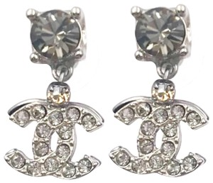 Chanel Chanel Ruthenium CC Overlapped Crystal Large Piercing Earrings