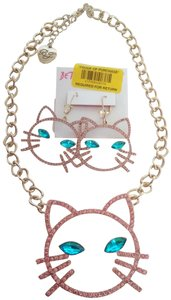 Betsey Johnson Betsey Johnson New Pink Cat Necklace & Earrings