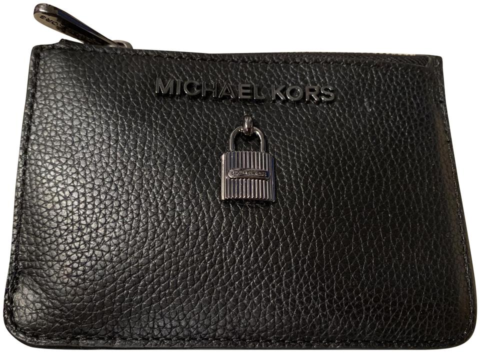da79e3cf8172 Michael Kors Black Leather and Shiny Gunmetal Lettering Coin Pouch ...
