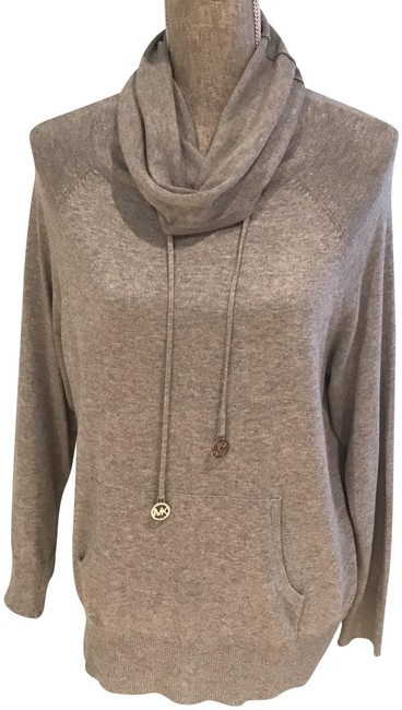 Item - Comfy Cowl Neck Silver Tone Hardware Logo (Small) Gray Sweater