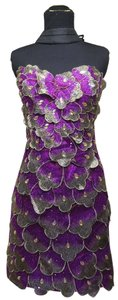 Interlude short dress Purple Silver Applique Floral Embroidered Layered Strapless on Tradesy