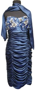 May Queen short dress Blue w/Silver Accents Flower Embroidered Ruched Strapless on Tradesy