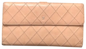 Chanel Chanel quilted long wallet leather
