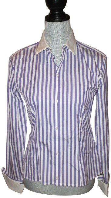 Item - Purple White Striped Cotton Slim Fit Career Blouse Size 6 (S)