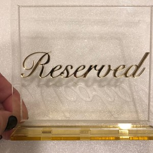 Clear Acrylic with Gold Writing Reception Decoration