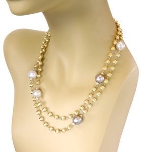 """Marco Bicego 1.20ct Diamond Tahitian Pearls 18k Gold Bead Necklace 38"""" L"""