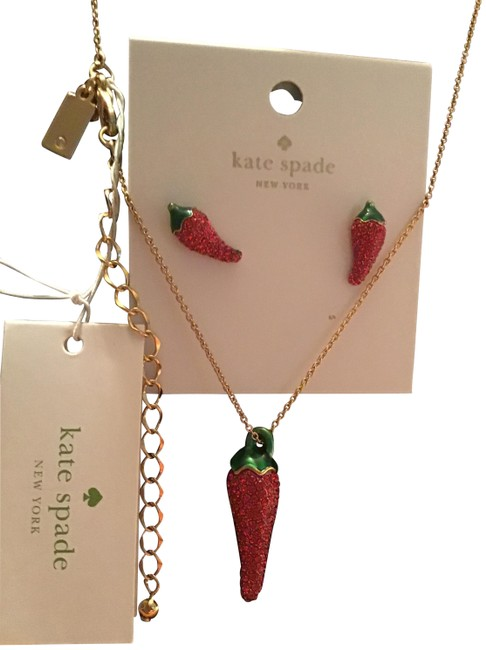 Item - Jalapeno Red Green Haute Hot Stuff Pepper Earrings and Matching Necklace