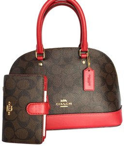 Coach Satchel in IM/Brown/Red