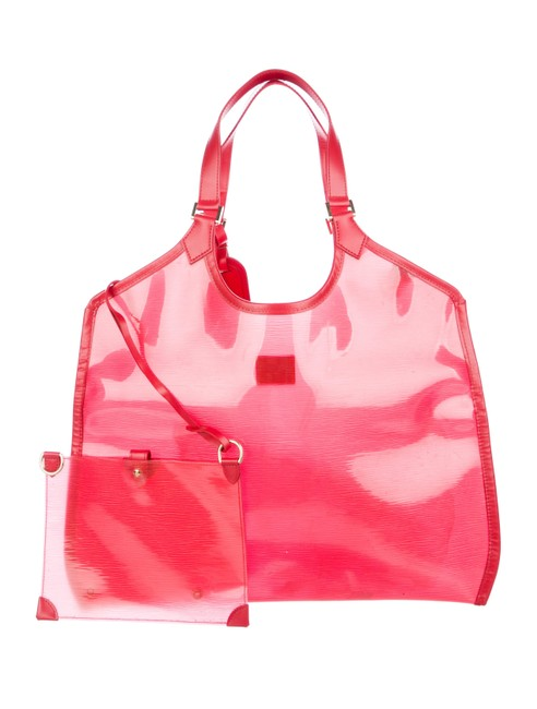 Louis Vuitton Lagoon Bay Plage Clear Translucent Epi Baia Gm with Pouch 868944 Red Vinyl Tote Louis Vuitton Lagoon Bay Plage Clear Translucent Epi Baia Gm with Pouch 868944 Red Vinyl Tote Image 1