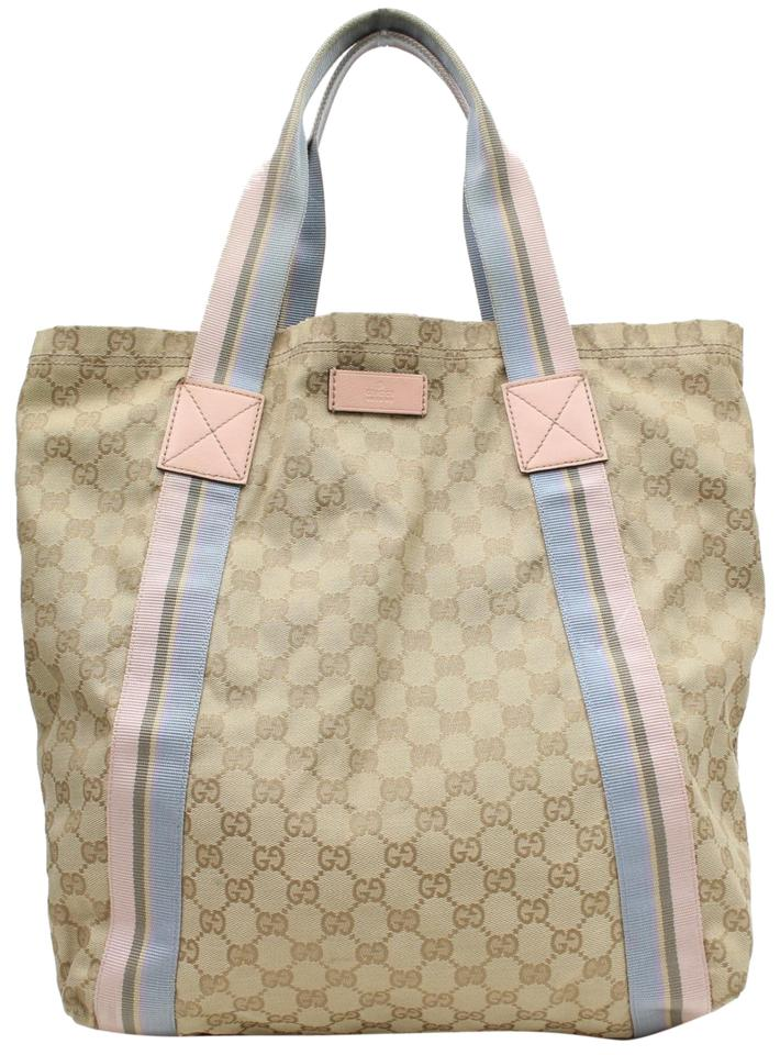 d814a826d Gucci Pink and Blue Sherry Monogram Web 868946 Beige Canvas Tote ...