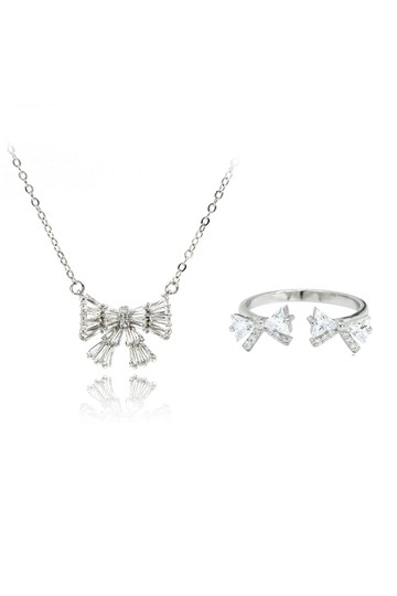Preload https://img-static.tradesy.com/item/24446736/silver-cute-bow-crystal-ring-necklace-0-0-540-540.jpg