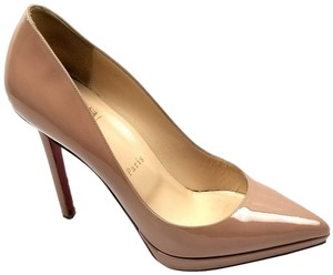 Christian Louboutin Pointy-toe Covered Platform Patent Leather Made In Italy Nude Pumps