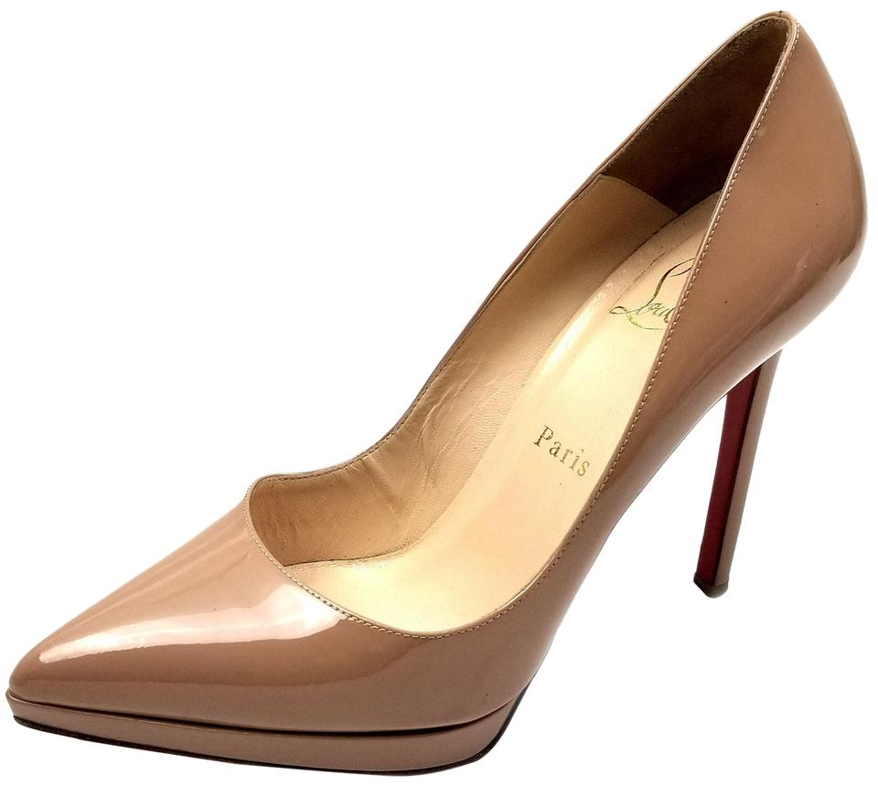 3fe2d40db6 Christian Louboutin Pointy-toe Covered Platform Patent Leather Made In  Italy Nude Pumps Image 0 ...
