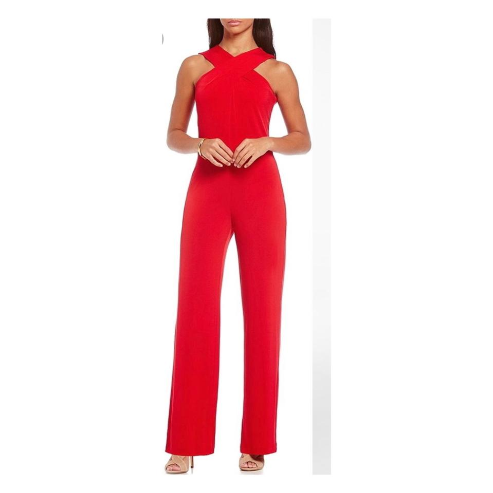 1567740d4a0c MICHAEL Michael Kors Red Crossover Halter Wide-leg Mf68wc1s32 Romper  Jumpsuit - Tradesy