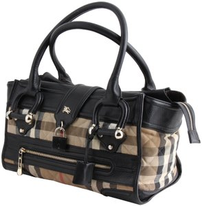 Burberry Quilted Canvas Nova Check Manor Satchel in Black 9e0427f62d3ae