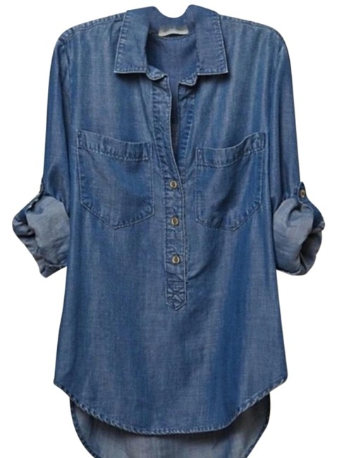 Preload https://img-static.tradesy.com/item/24447037/anthropologie-blue-denim-chambray-popover-shirt-button-down-top-size-8-m-0-3-650-650.jpg