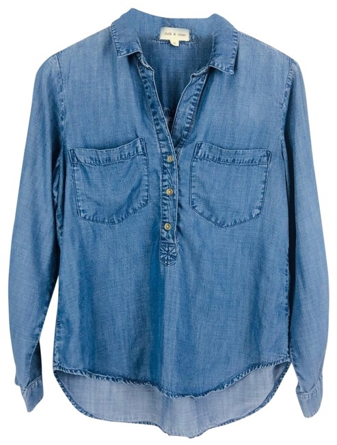 Preload https://img-static.tradesy.com/item/24447037/cloth-and-stone-blue-chambray-popover-shirt-button-down-top-size-8-m-0-1-650-650.jpg