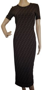 Fendi Zucca Monogram Maxi Logo Embroidered Dress