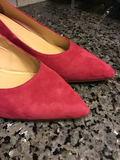 Brian Atwood Excellent Condition Pointed Geometric Heel Gold Tone Heel Suede/Leather Warm Pink Pumps
