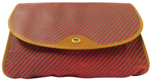 Gucci Mint Vintage Red/Green Frame Large Rare Gac Print/Style red and green striped logo print coated canvas and brown leather Clutch