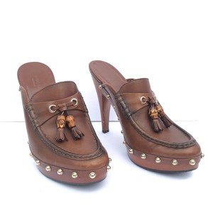 Gucci Bamboo Leather Platform Chunky Brown Mules