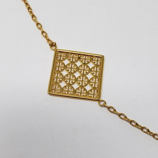 Tory Burch 16K gold-plated Tory Burch Perforated Square Logo necklace