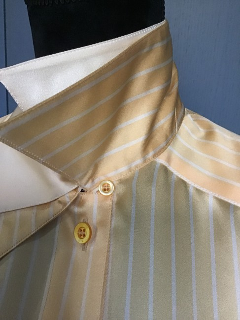 Escada Excellent Condition Silk Button Front/Cuffs Gold/Wht Double Collar Top Canary Gold/White Trim