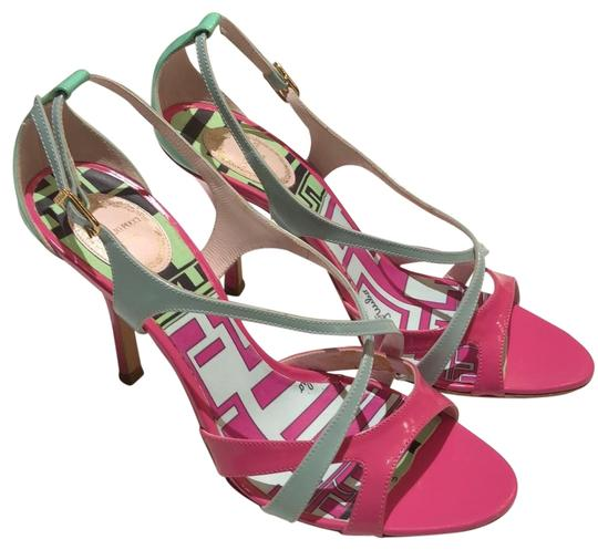 Preload https://img-static.tradesy.com/item/24447348/emilio-pucci-pink-turquoise-and-powder-blue-strappy-patent-sandals-size-eu-38-approx-us-8-regular-m-0-1-540-540.jpg