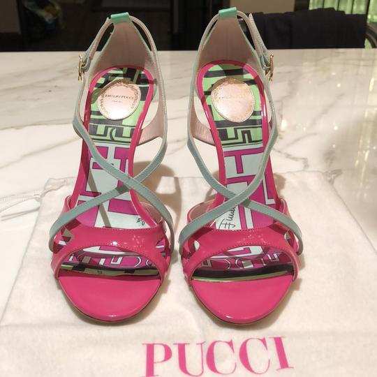 Emilio Pucci Pink, Turquoise and Powder Blue Sandals