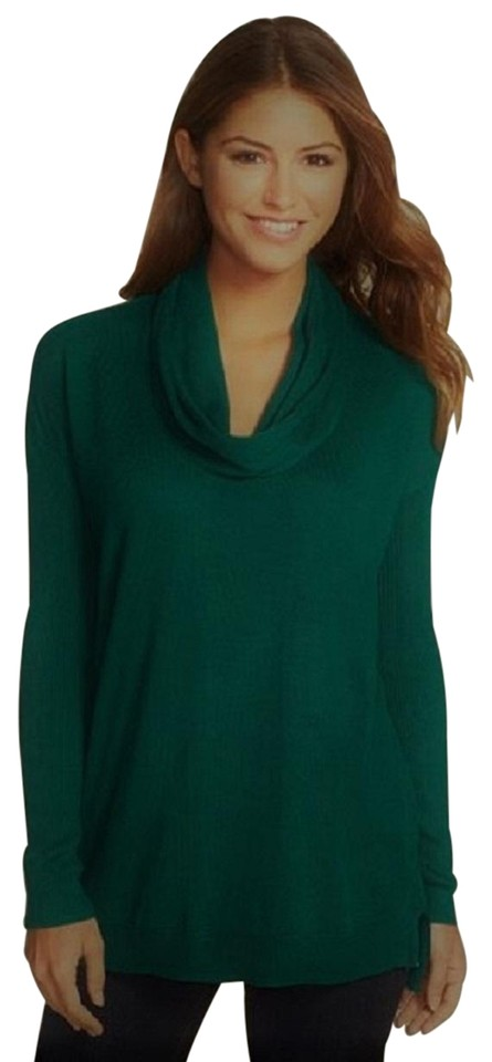 Vince Camuto Draped Ribbed Cowl Neck Long Sleeve Green
