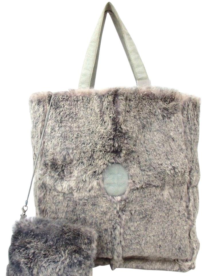 3b4b18886056 Chanel Cc Grey Light Blue Fur Satchel - Tradesy