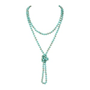 Riah Fashion Long Knotted Rondelle Beads Necklace