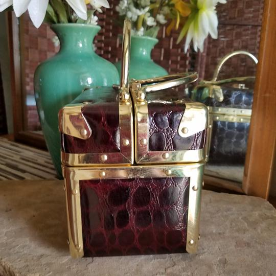#C See Sharp #vintage #boxbag #lisette #crocembosed Brown & Gold Travel Bag
