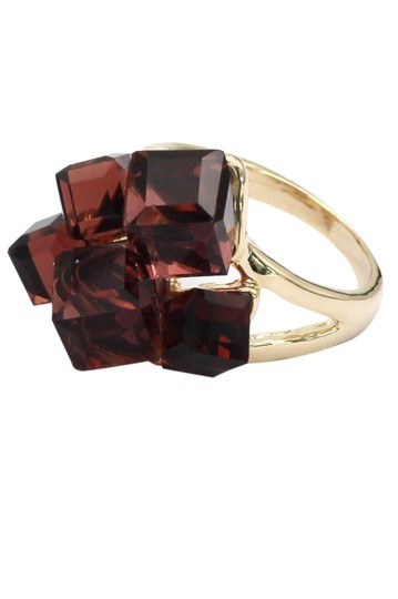Ocean Fashion Brown square crystal golden ring