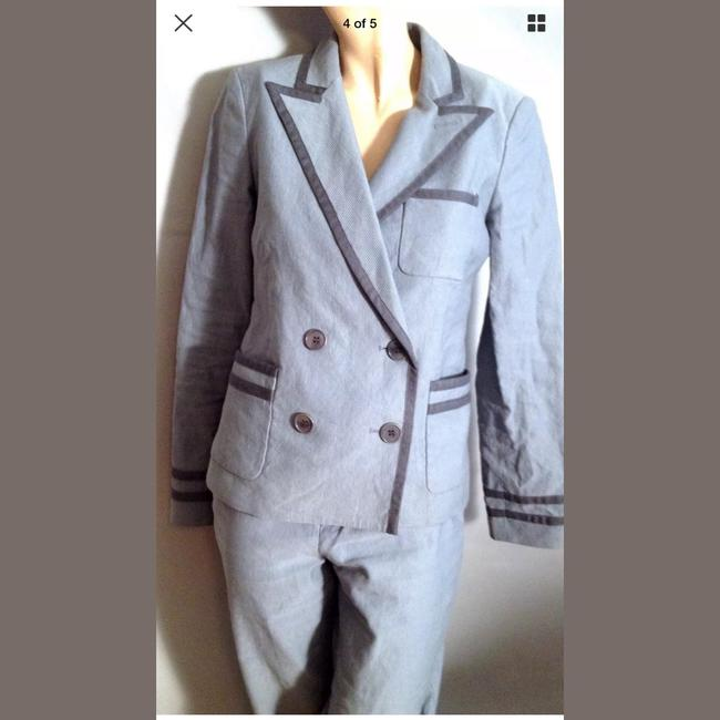 Jigsaw Jigsaw Gray Double Breasted Fitted Suit Size 6 Dark gray trim and piping Cotton and metal Retails for $600 Bust: 34 Inseam: 20 Pants: Waist: 29 Rise: 9 Inseam; 34 Cool coin pocket