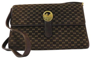 Gucci Mint Vintage Early 2way Bag/Clutch Suede/Leather Bold Gold Gg Accent Shoulder Bag