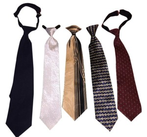 Boys 5-Tie Set ; Clip-On / Adjustable (8-12 years) [ TommiesCloset ]