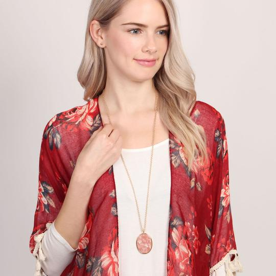 Riah Fashion Two-Tone Oval Pendant Necklace & Earring Set