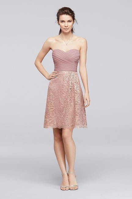Item - Petal Polyester Rayon Short Lace with Pleating Feminine Bridesmaid/Mob Dress Size 4 (S)