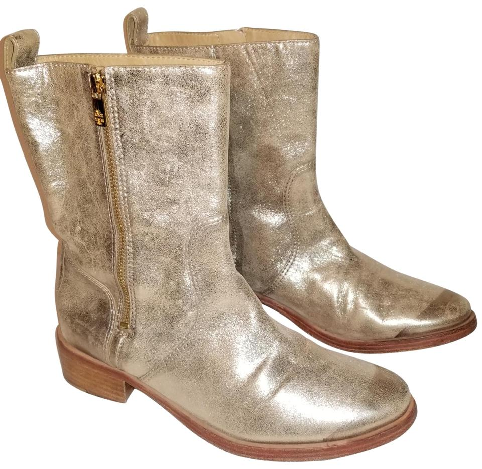 a4a4501dab23 Tory Burch Gold Halle Mid Calf Leather Logo Zip Boots Booties Size ...